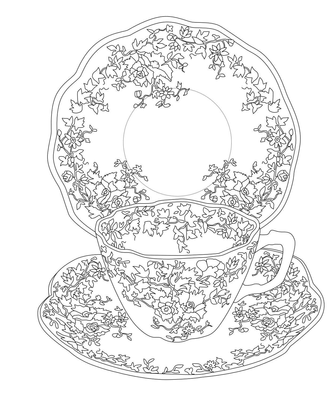 Elegant Tea Party Coloring Book | Colorear