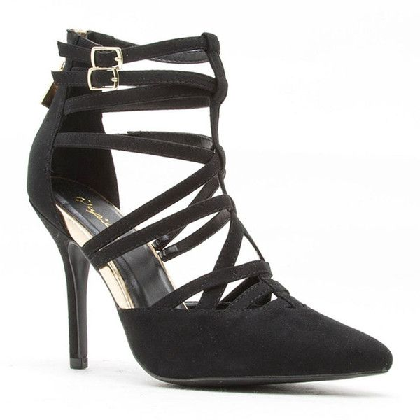 Qupid Mixi Strappy Pointed Toe Pumps ($30) ❤ liked on Polyvore featuring shoes, pumps, pointed toe shoes, cocktail shoes, party shoes, strap pumps and qupid shoes