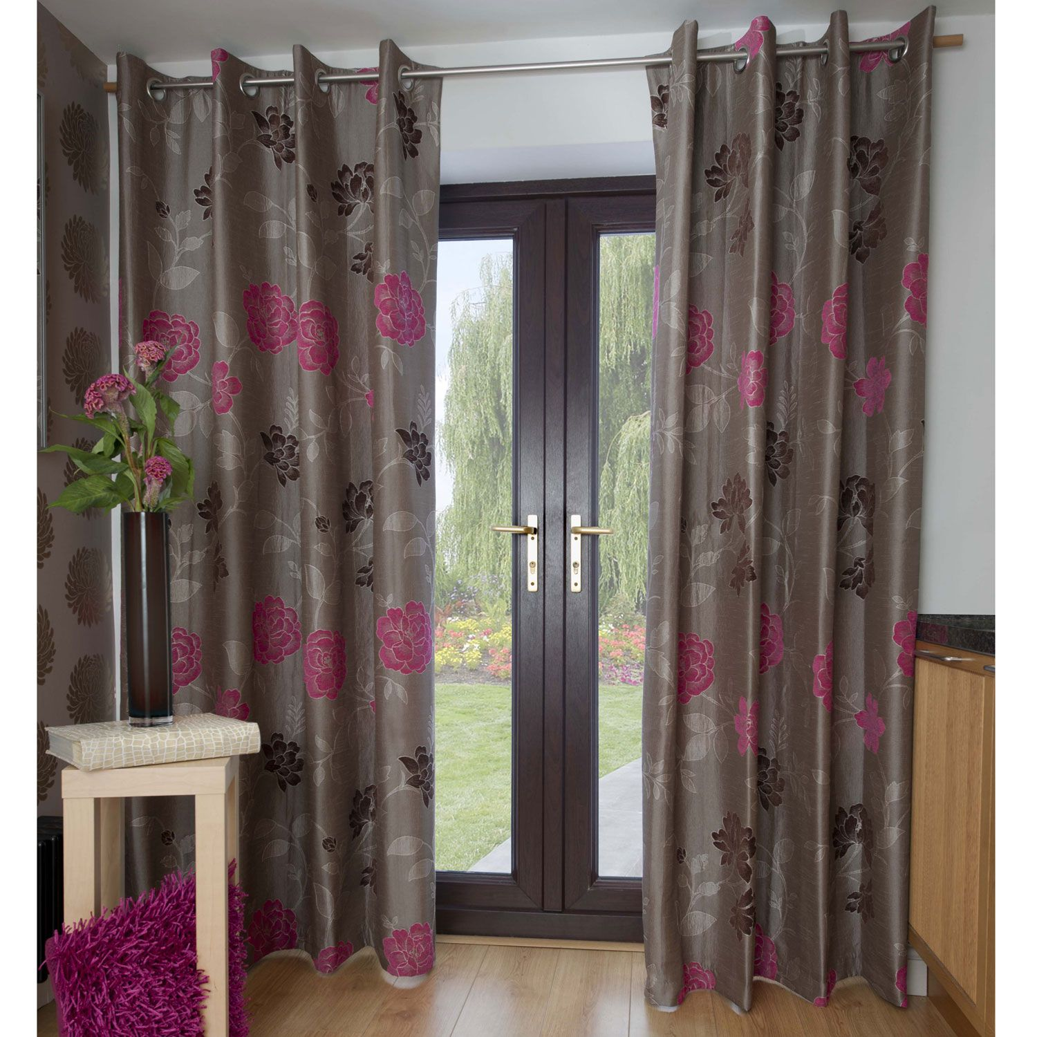 Silver Grey Shower Curtain Part - 50: Pink And Grey Shower Curtain Http://www.dovemill.co.uk