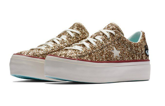 official images designer fashion best sell Converse x Chiara Ferragni One Star Platform Glitter Gold ...