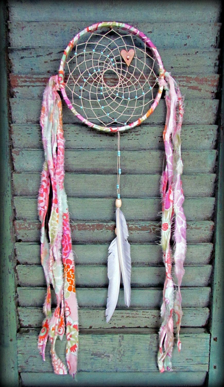 Shabby chic / cottage chic Dream Catcher - pastel - designer Kaffe Fassett fabric -  dreamcatcher - boho -  6 inch hoop. $37.00, via Etsy.