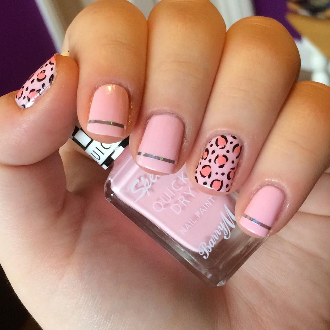 nnmnails on Instagram: pink leopard print striping tape nail art ...