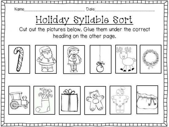 Holiday Syllable Sort {Cut & Paste FREEBIE} product from