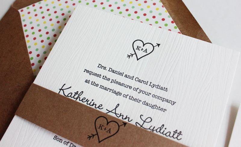 Katie Andrews Black and White Woodgrain Wedding Invitations