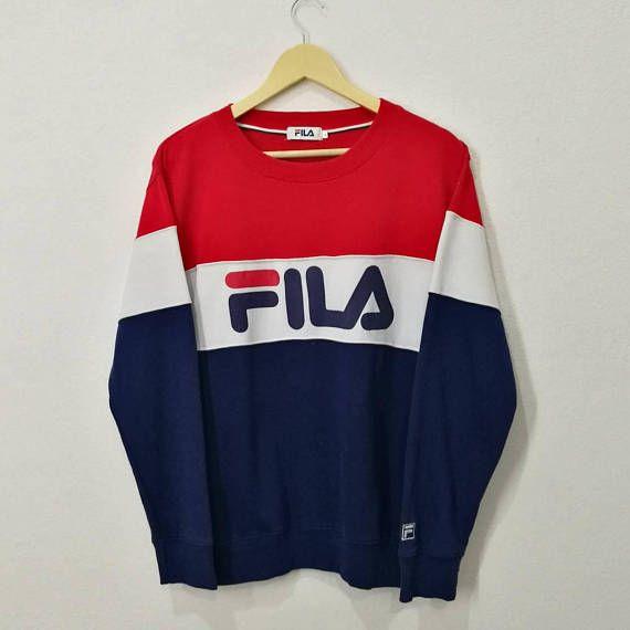 4fb29b1d33dc RARE!! Vintage Fila Multicolor Big Spell Out Big Logo Embroidery ...