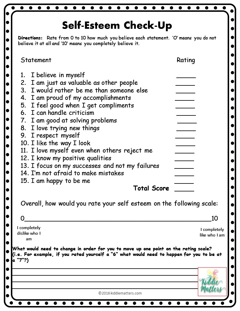 picture about Self Esteem Quiz Printable named Self Esteem Designing Minor Local community Counseling Lesson Options and