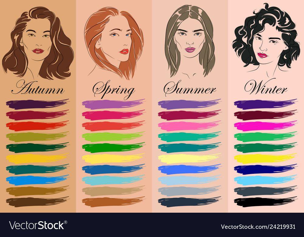 Seasonal color analysis hand drawn girls Vector Image ...