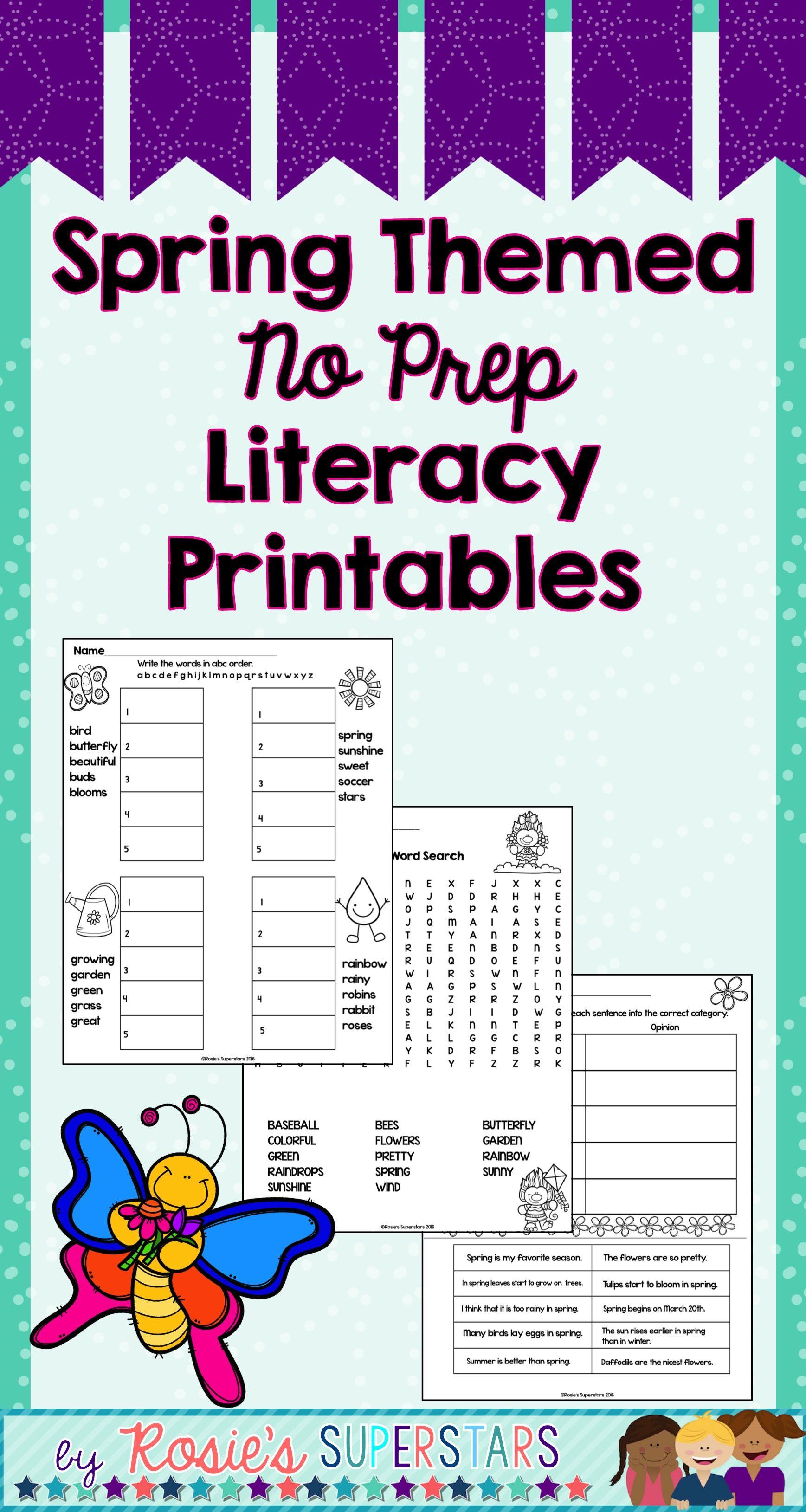 Spring Themed Literacy No Prep Printables