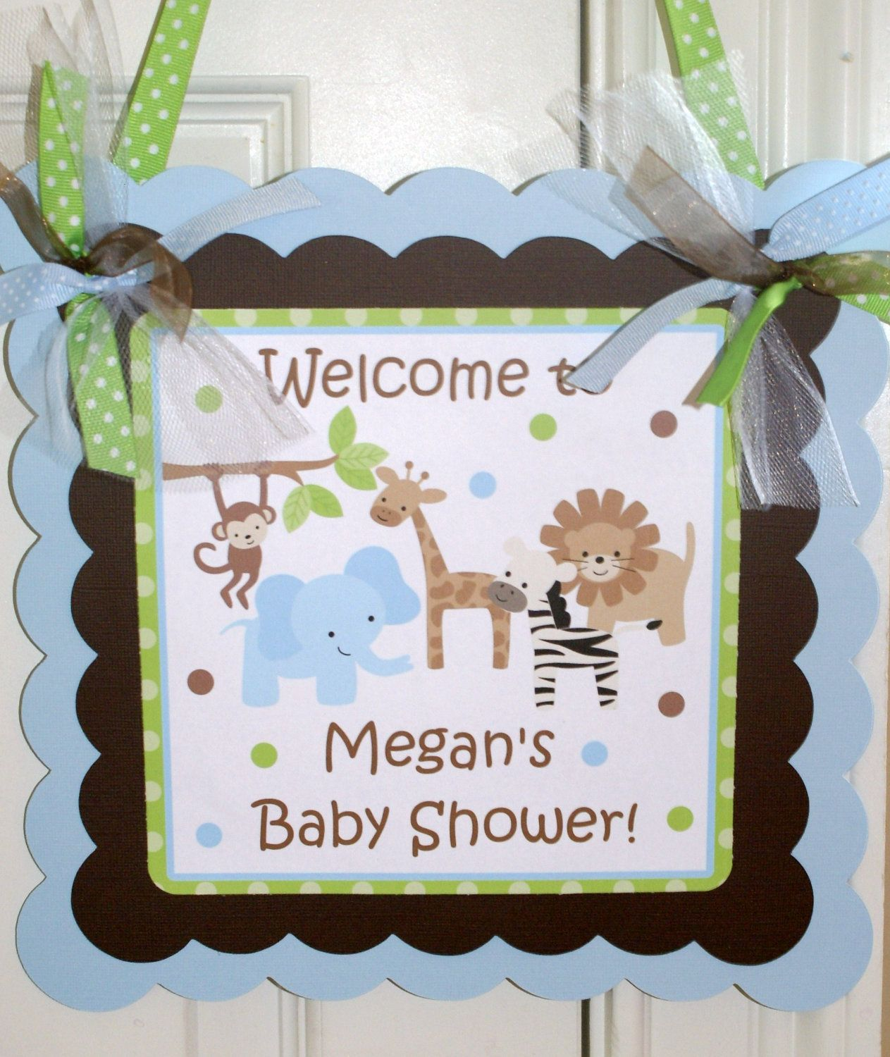 NEW....Safari Baby Shower and Safari Birthday Party Welcome Door Sign by Kidfully Celebrations. $12.00, via Etsy.