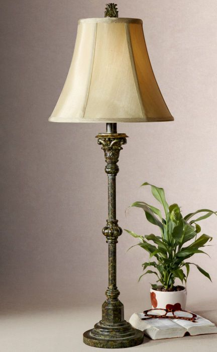 Tuscan brown bronze gold red furrow candlestick buffet table lamp 32h set of 2