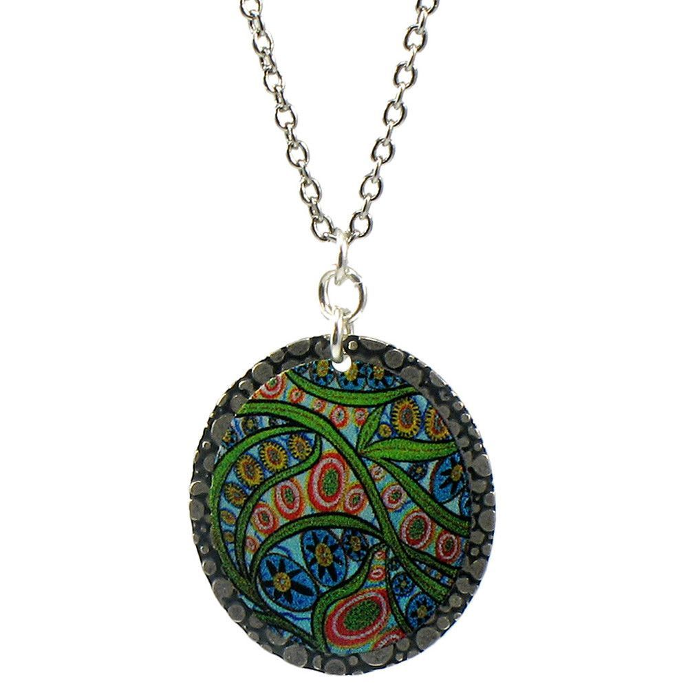 Earth dreams painted abstract fern uu pendant necklace fern and