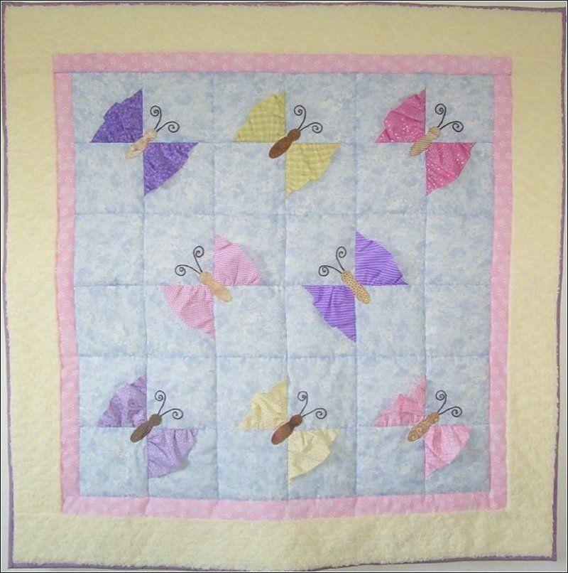 little girl quilt patterns   quilt is covered with butterflies ... : butterfly quilt designs - Adamdwight.com