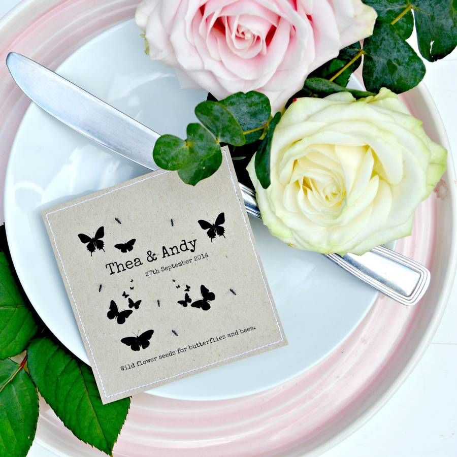 Plantable wedding favors - Wildflower Seed Wedding Favours Personalised Butterfly
