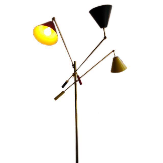 Three Arm Counter Balance Floor Lamp By Arredoluce 1stdibs Com Lamp Floor Lamp Vintage Floor Lamp