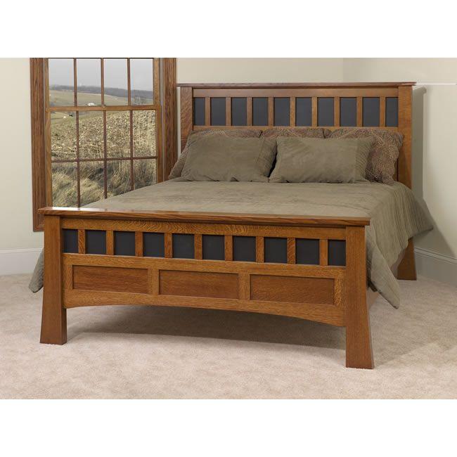 mission oak bed frame headboard