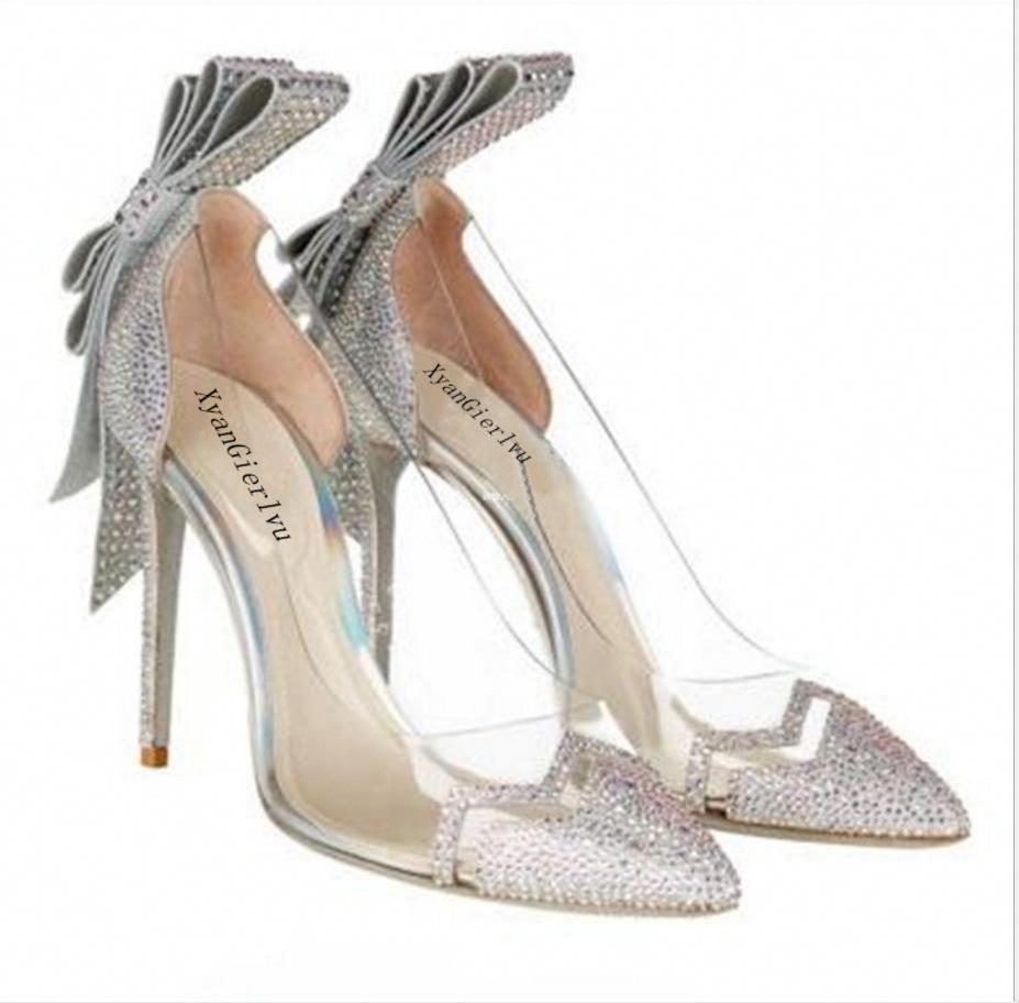 Bowknot Crystal Transparent Low Cut Stiletto High Heels Bridal Shoes   Shoeshighheels 529a8d2f5b3b