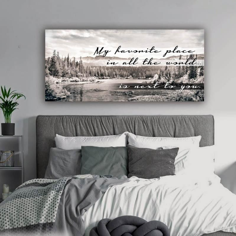 My Favourite Place In All The World Home Family Husband Wife Love Bedroom Wall Art Wooden F Husband And Wife Bedroom Nursery Bedding Sets Girl Clean Bedroom