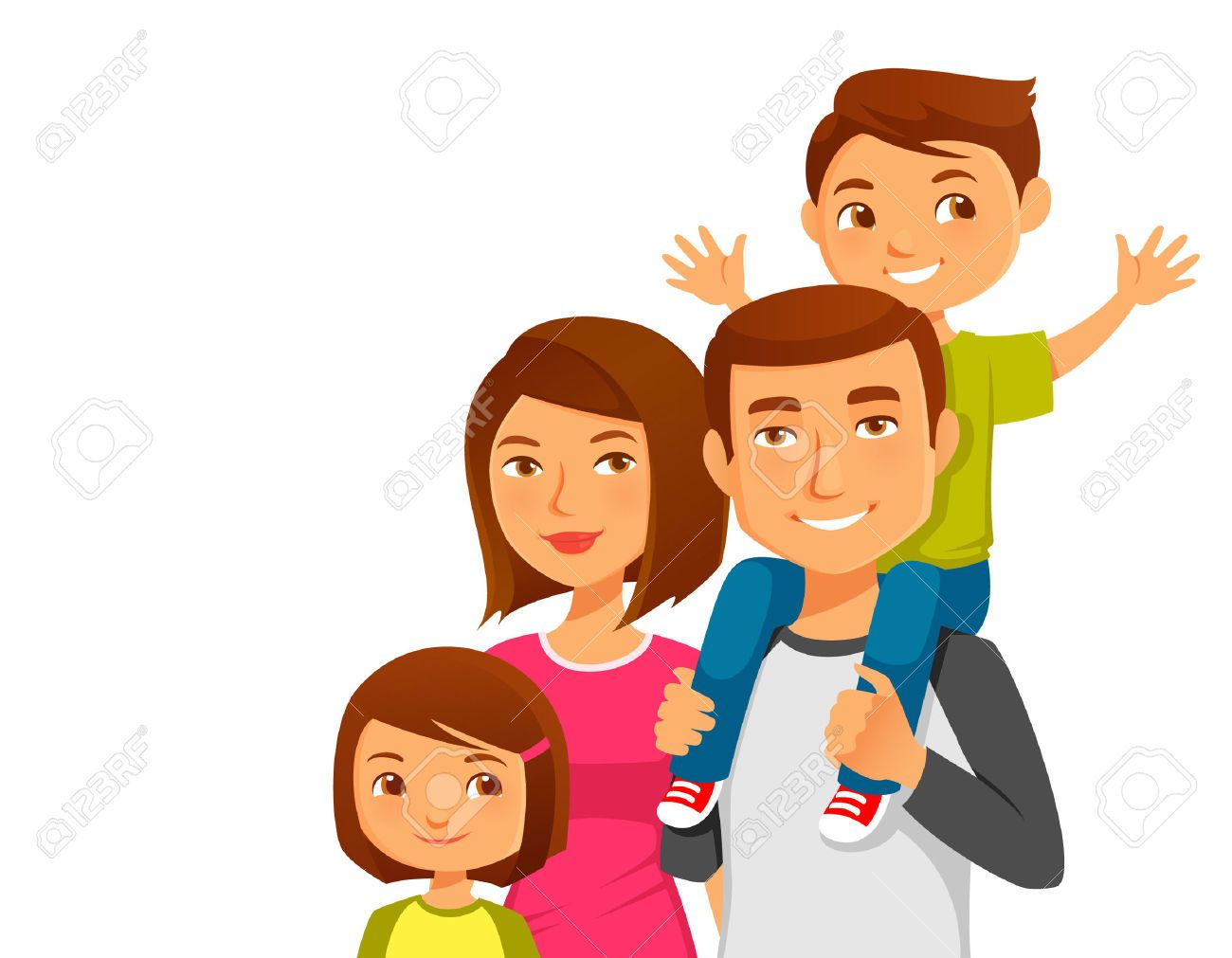 Happy family cartoon clipart young beautiful mother father for Mural una familia chicana