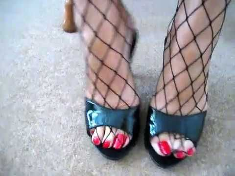 blue long toenails of a mature woman
