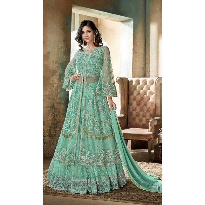 e338c52afa Pakistani Style Designer Aqua Green Color Net Lehenga Kameez - 397047891 # sharara #salwarkameez #