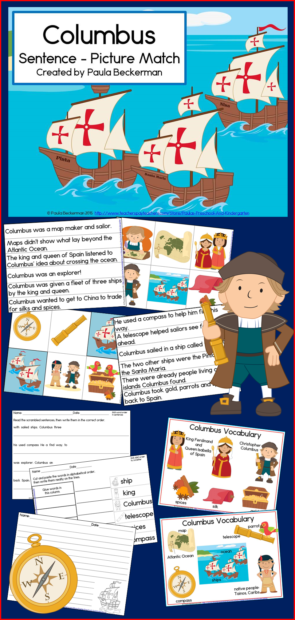 Columbus Day Learning That Combines Reading And Social Studies In One Fun Activity Columbus Sentence Picture Match Will Delight Your Students Creative Teaching