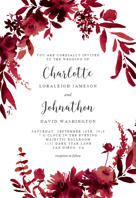 Indigo Flowers Wedding Invitation Template Free In 2019