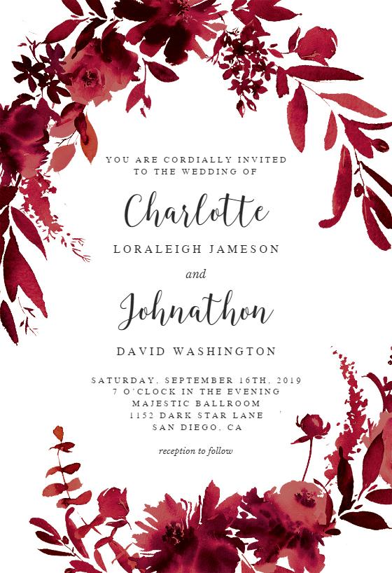 Indigo Flowers Wedding Invitation Template Greetings Island Flower Wedding Invitation Wedding Invitations Printable Templates Free Wedding Invitation Templates