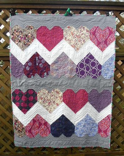 Purple Paper Hearts