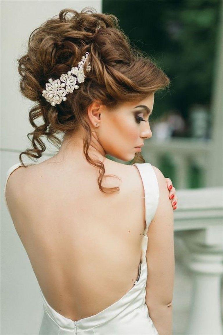 Halb nach unten Hochzeitsfrisur mit PerlenHaarKrone