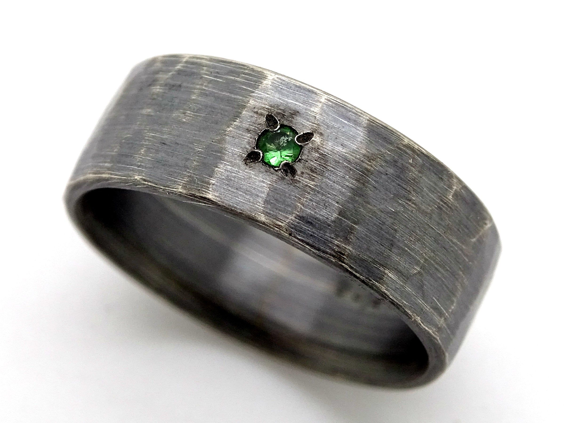 Rustic mens ring band rustic wedding ring silver promise