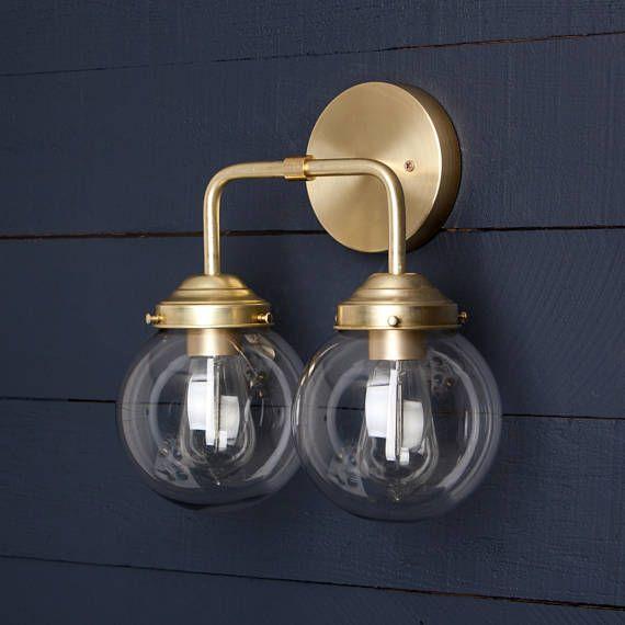 applique murale double verre clair globe en laiton luminaires pinterest verre clair. Black Bedroom Furniture Sets. Home Design Ideas