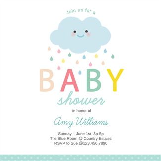 "shower cloud"" printable invitation template. customize, add text, Baby shower invitations"