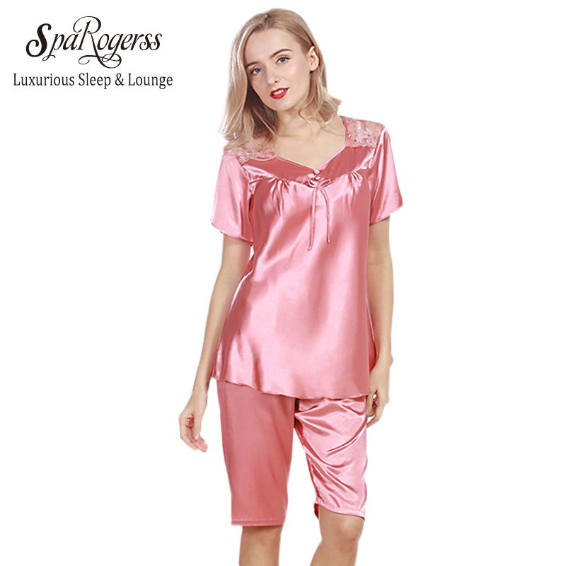 SpaRogerss Luxurious Women Pajama Sets 2017 Brand Faux Silk Ladies Pajama  Pants 2 Pcs Set Summer ed4a71619