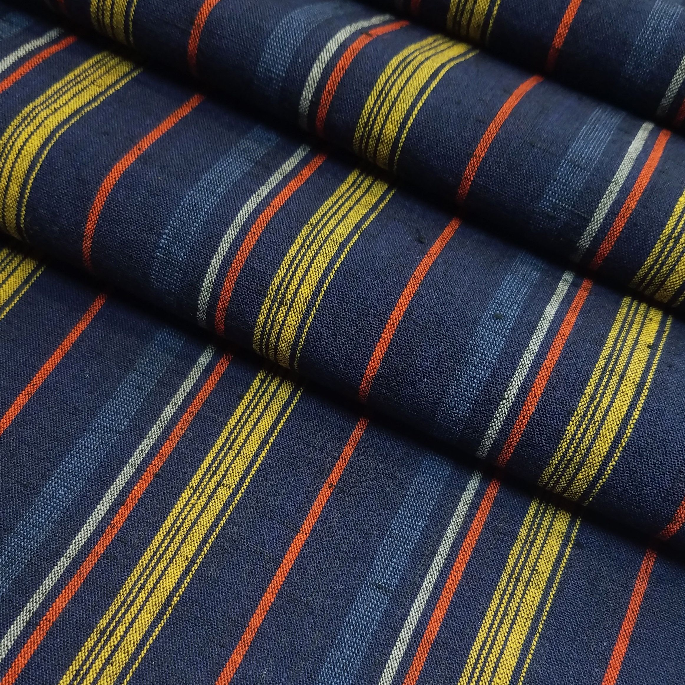 Vintage Blue Golden Ocher And Red Striped Yarn Dyed Cotton Kimono Fabric By The Yard Kimono Fabric Cotton Kimono Japanese Fabric