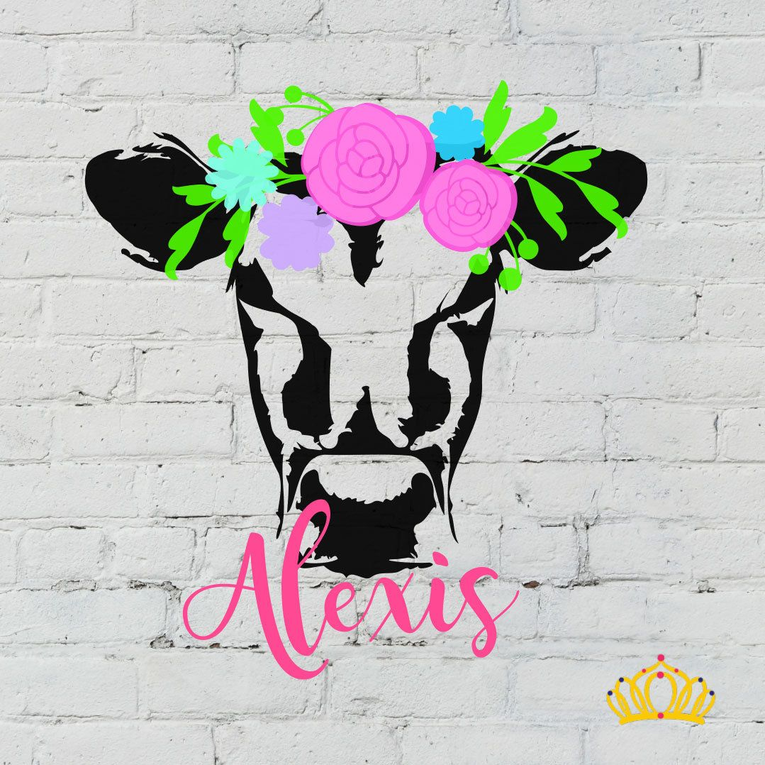 Cow with flower crown cow decal heifer decal cow sticker cow with flower crown cow decal heifer decal cow sticker farm decal country decal yeti name decal car decal name sticker by dashofflair on izmirmasajfo
