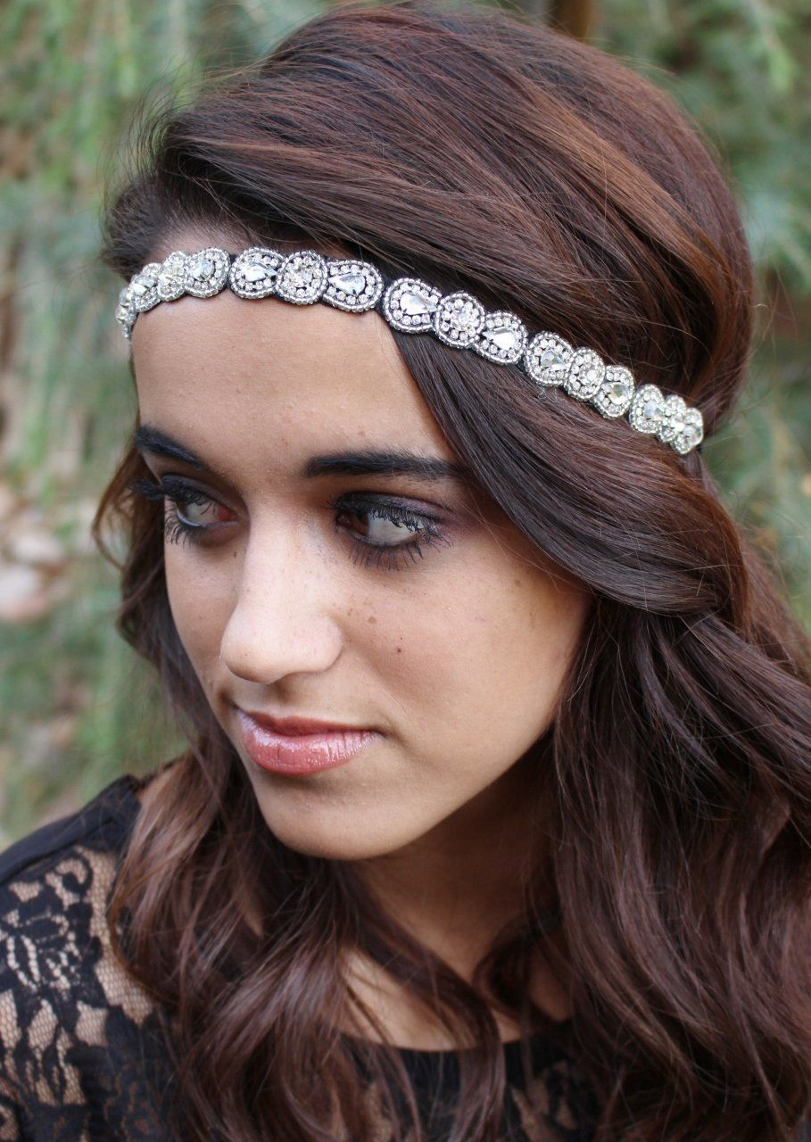 "amazon : pink pewter ""gemma"" silver beaded stretch band headband"