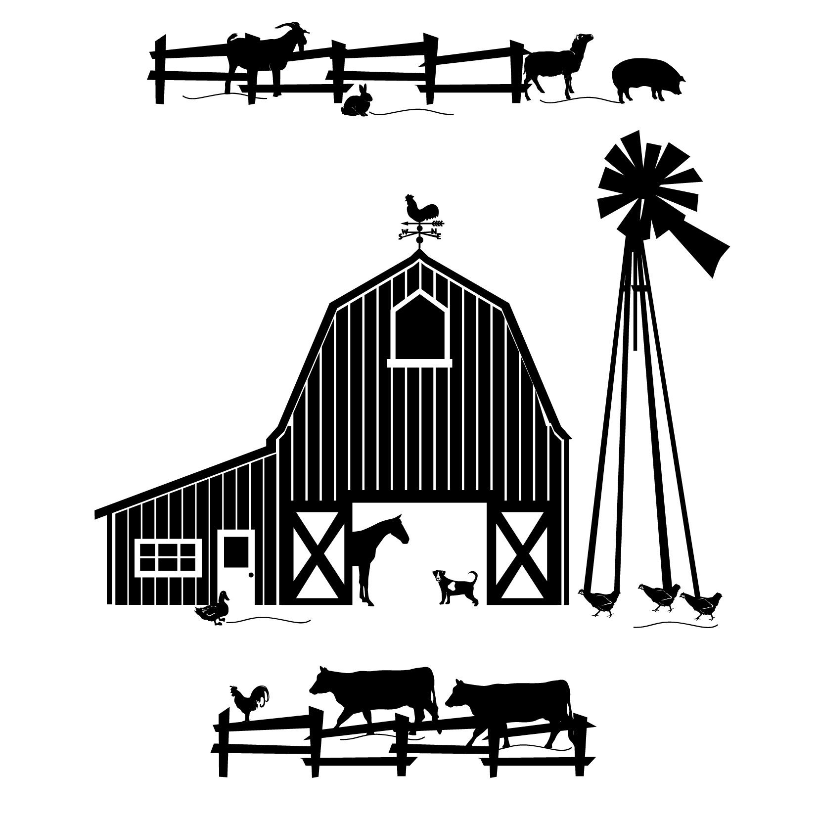 Farm Scene Clipart Black And White