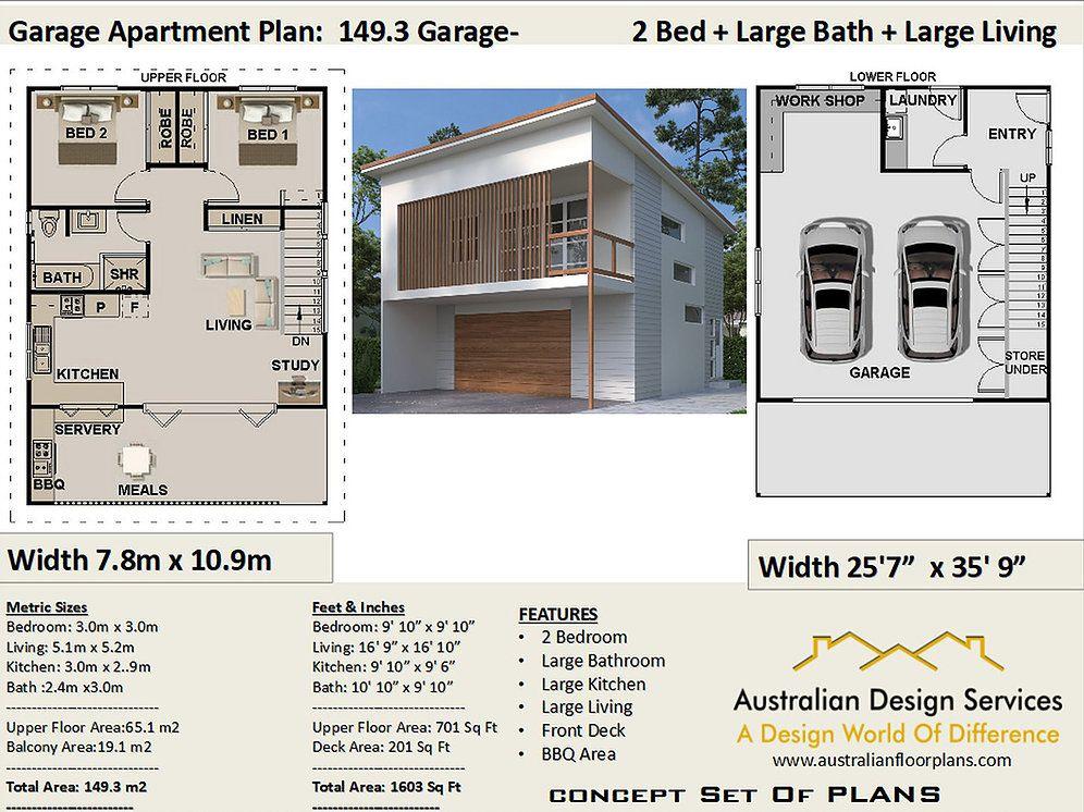 Garage Apartment 2 Bedroom + Study House Plan149.3 2020