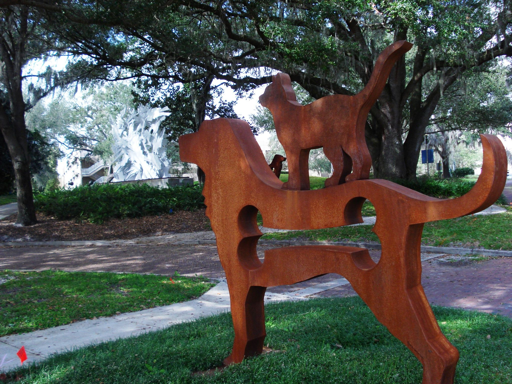 """Big Dog With Cat"" by Dale Rogers. Date unknown, CorTen"