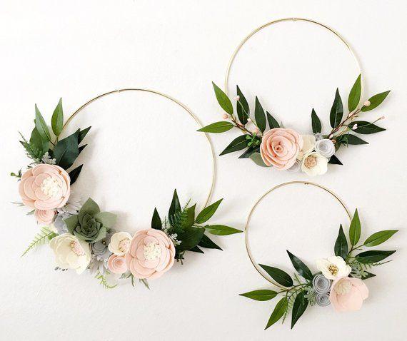 Photo of Blush and Gray Wreath Set    Felt Flower Wreath    Felt Wreath    Wreaths    Flower Wreath    Spring Wreath    Felt Flowers    Nursery Decor