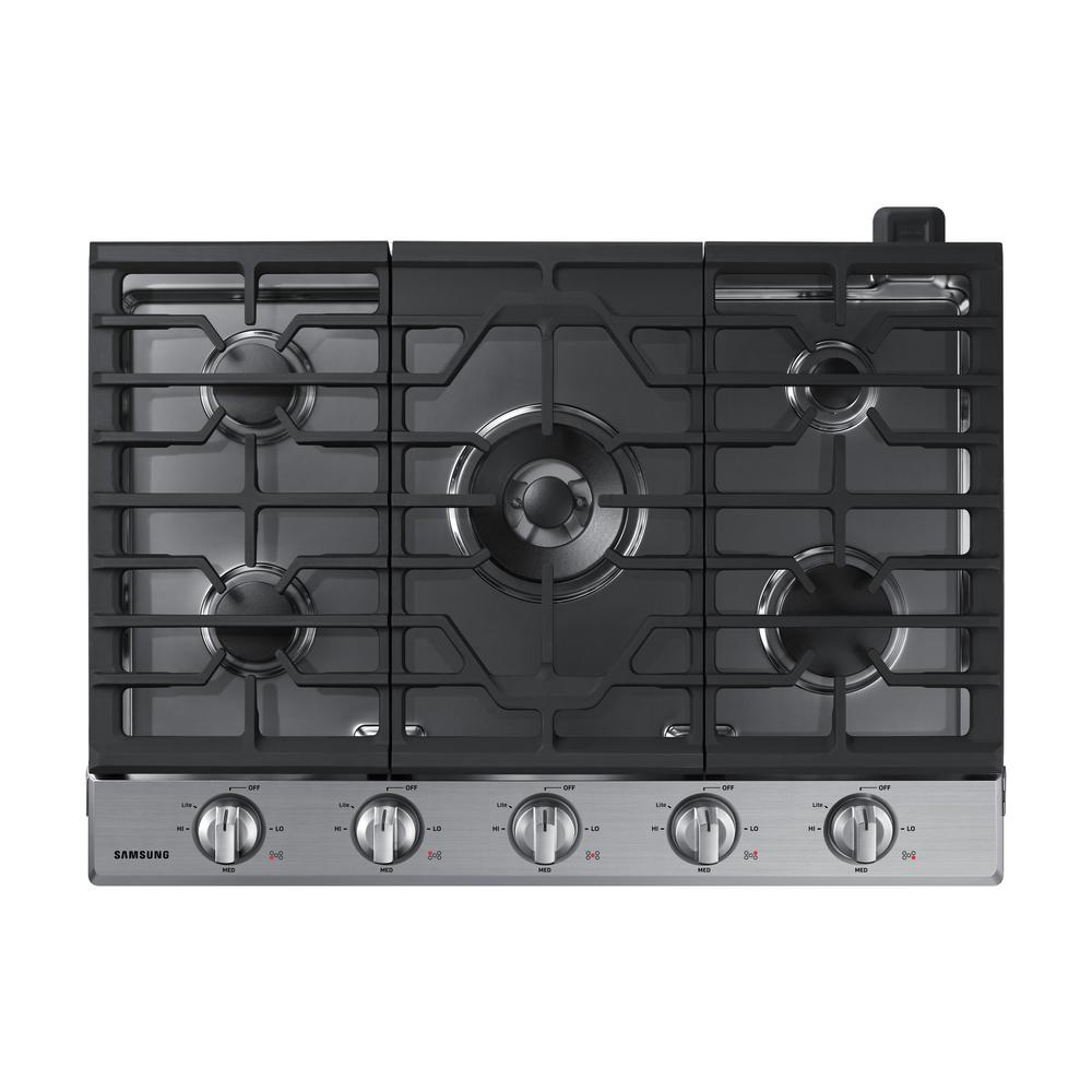 Samsung 30 In Gas Cooktop In Stainless Steel With 5 Burners Including Power Burner With Wi Fi Fingerprint Resista In 2020 Gas Cooktop Stainless Steel Cooktop Cooktop