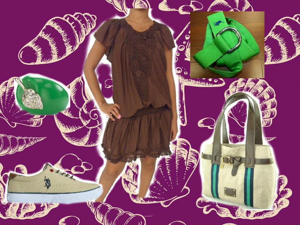 twin set dress, tommy hilfiger bag, ralph lauren belt, us polo sneakers, accessorize ring