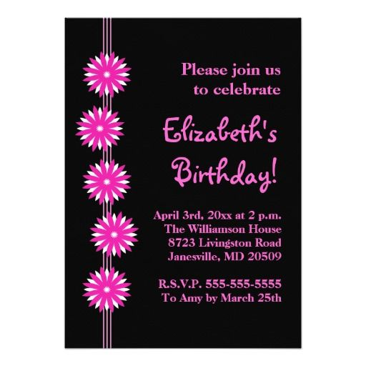 Pink Flowers Birthday Party Invitations