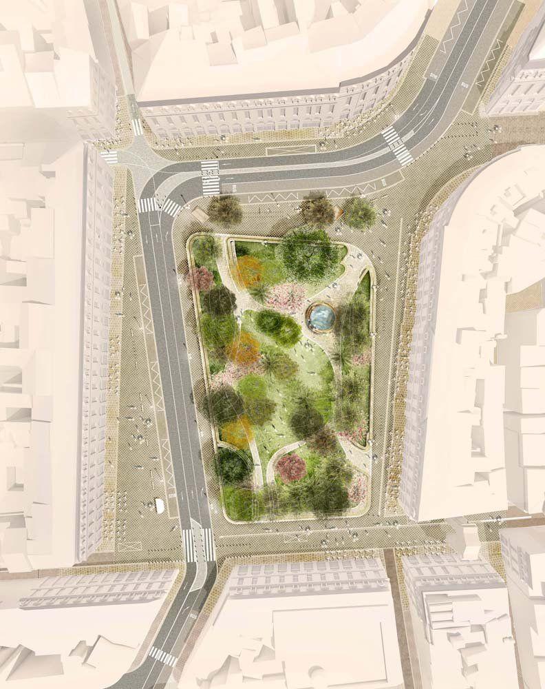 le plan de circulation contourne la place vers l ouest et. Black Bedroom Furniture Sets. Home Design Ideas