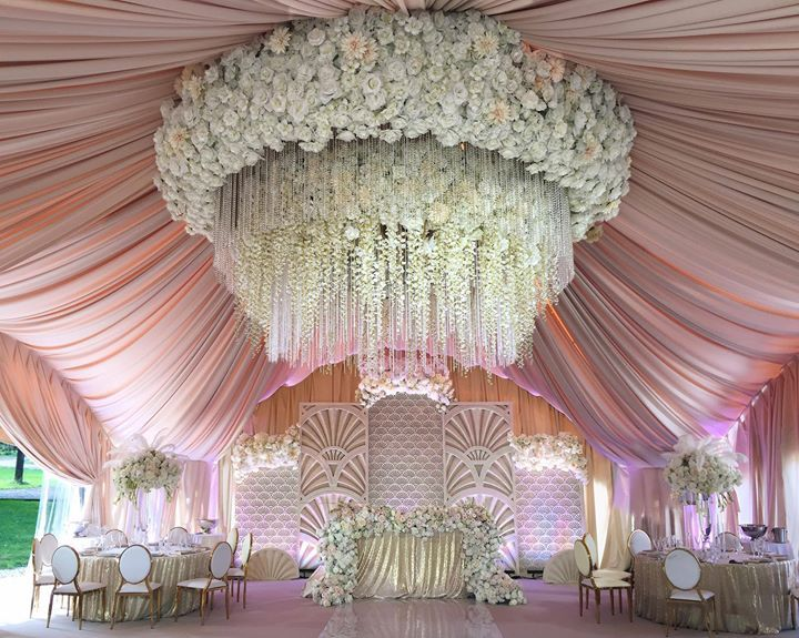 wedding chandelier decorations amazing draped ceiling and floral chandelier wedding 8955