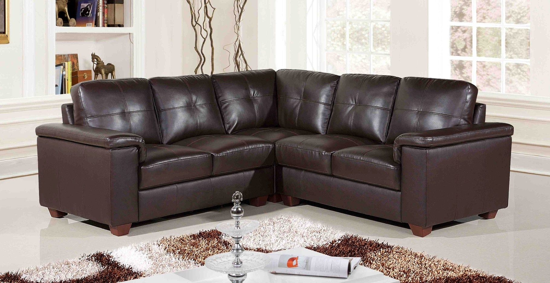 Leather Sofas Cheap Prices Dark Chocolate Sofa Furniture Classic Sectional Affordable With Brown Color For Small Spaces Living Room