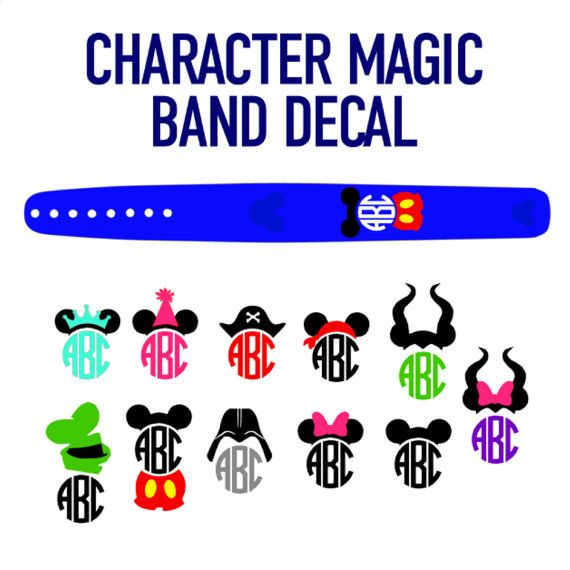 Diy personalized monogram character sticker decorations for your magic bands glitter options available