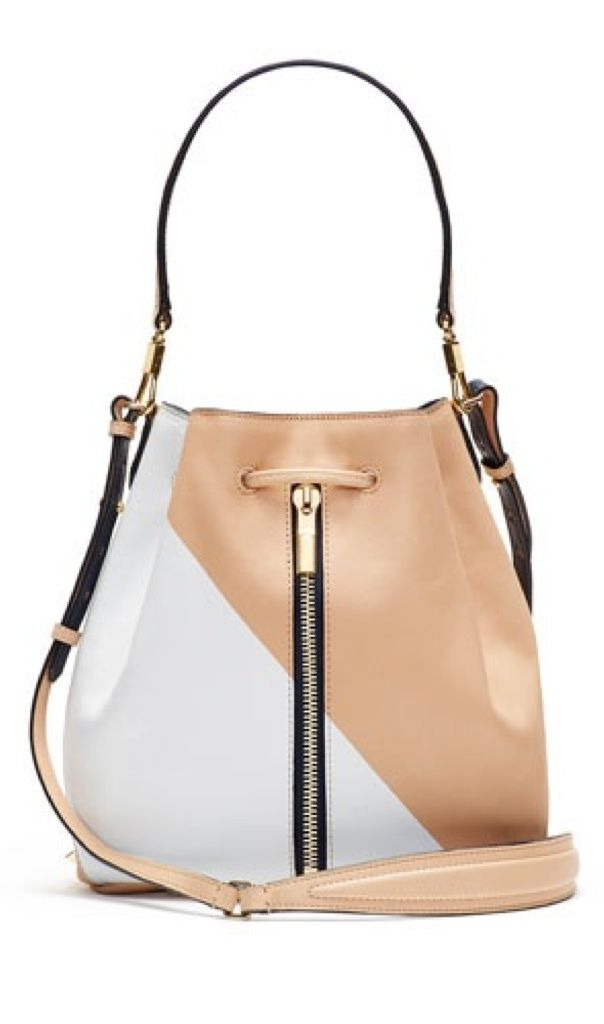 elizabeth james 2015 color block bucket bag in white and tan