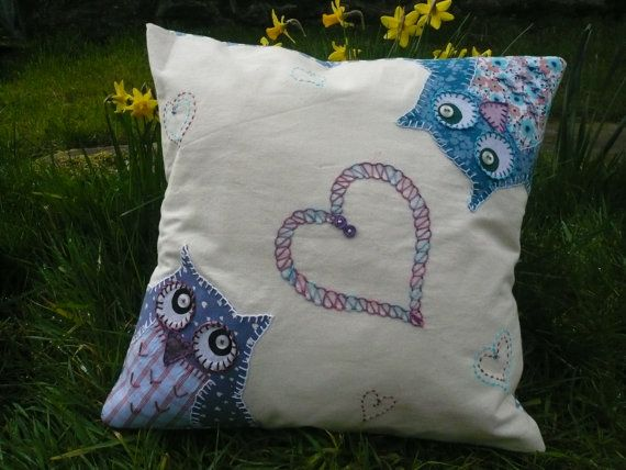 Love Birds- Appliqued and embroidered cushion