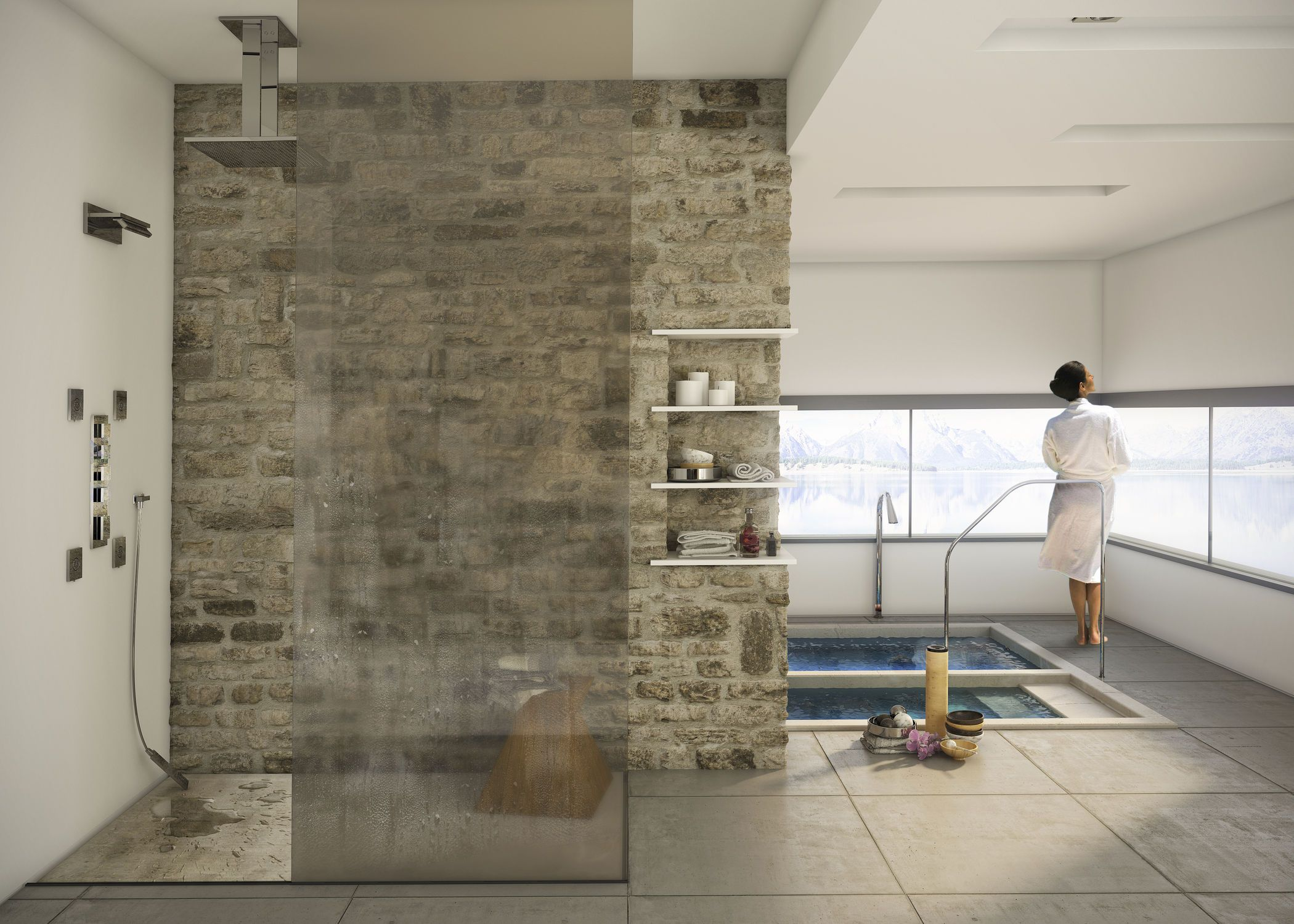 Risultati immagini per cabina doccia doppia soffione - Soffione doccia a soffitto ...